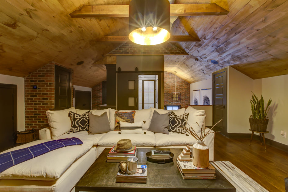 attic remodel with wood ceiling
