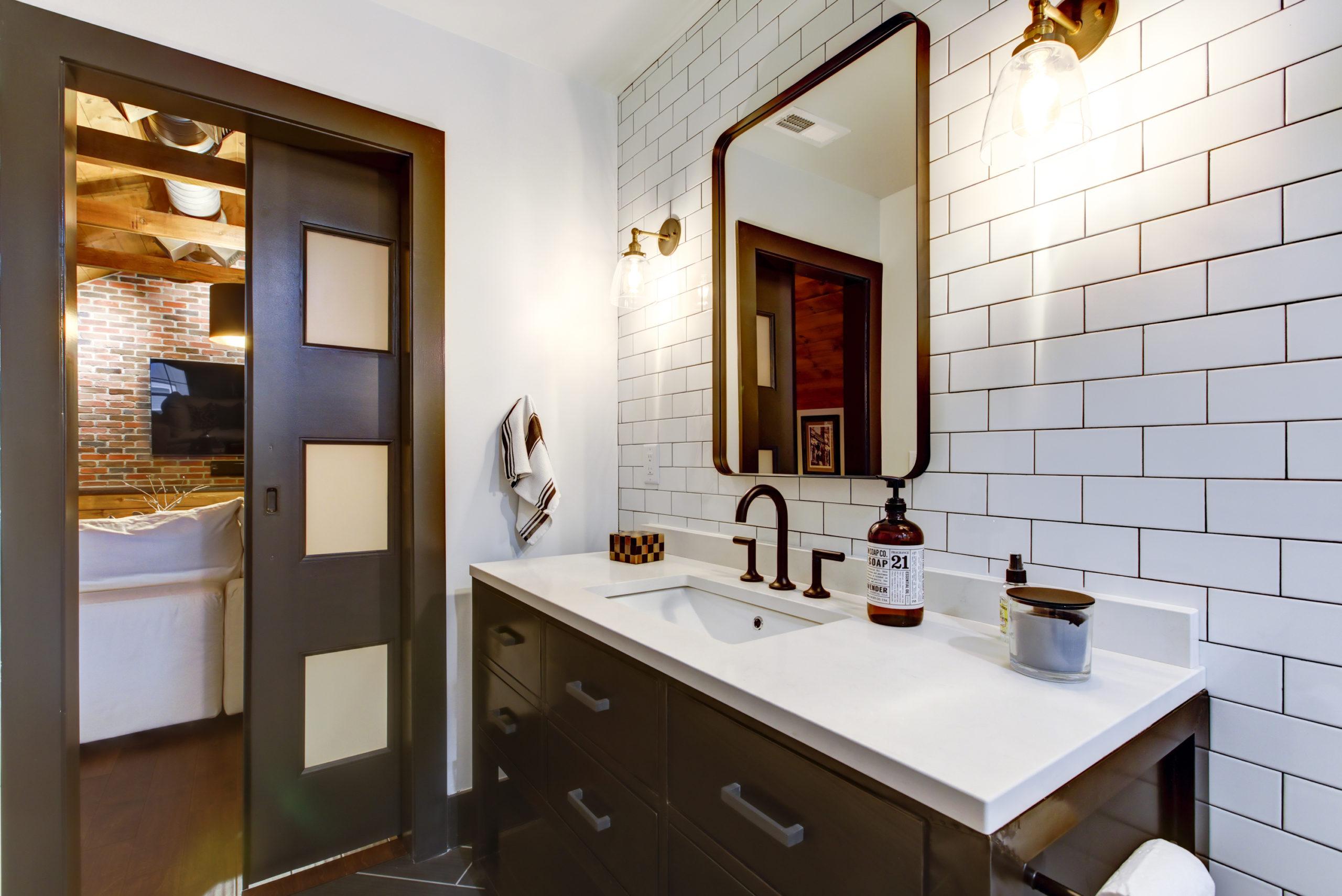 bathroom with sliding door