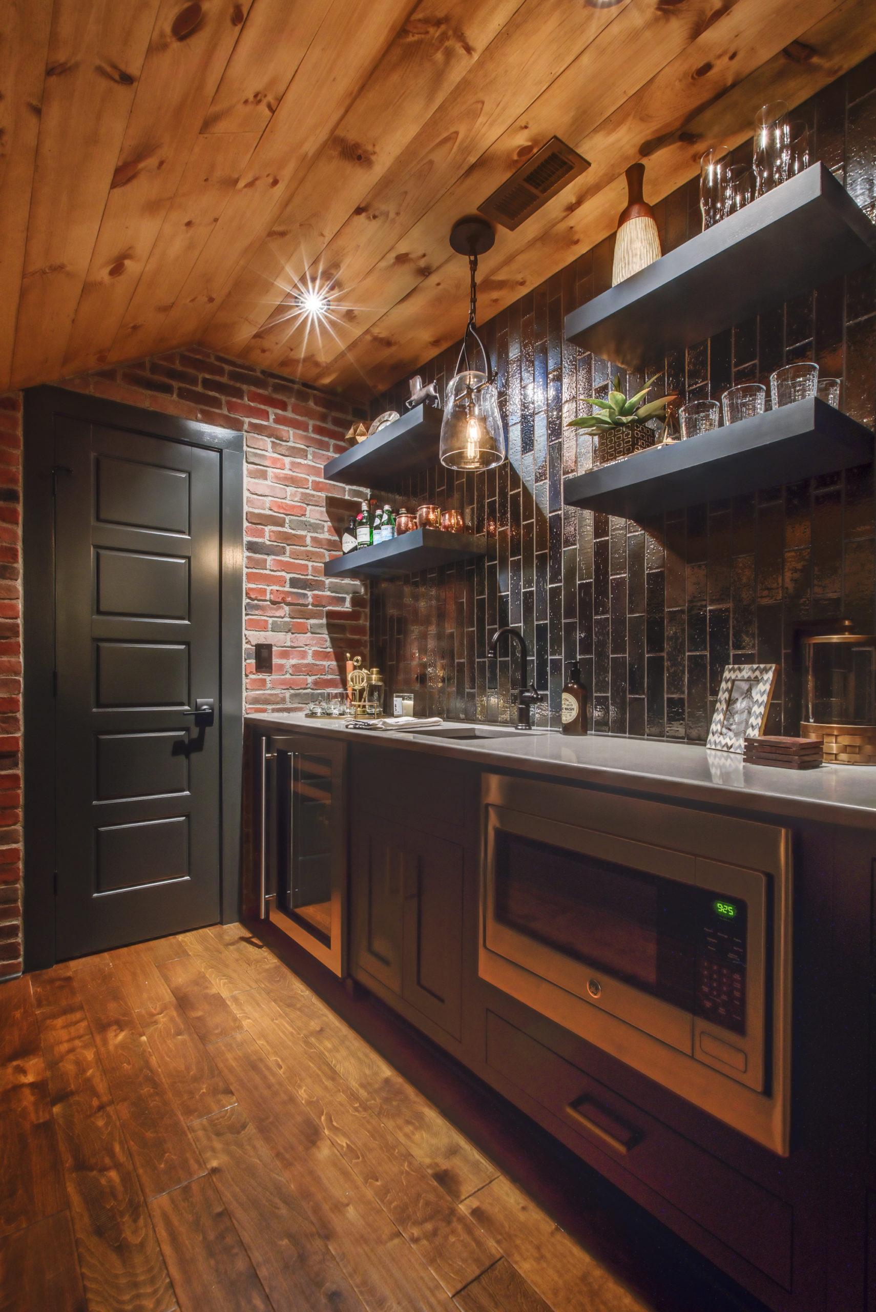 corner attic bar with black shelves