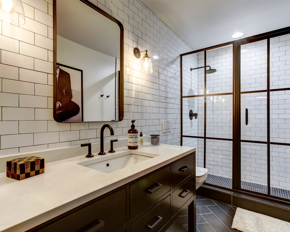 contemporary bathroom with white tile
