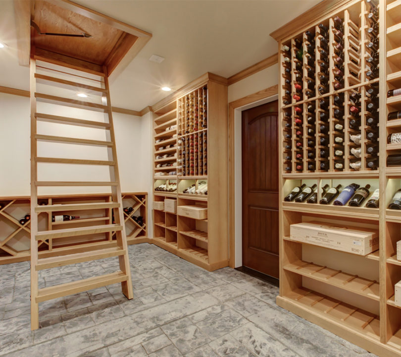 wine cellar with hidden cieling entrance