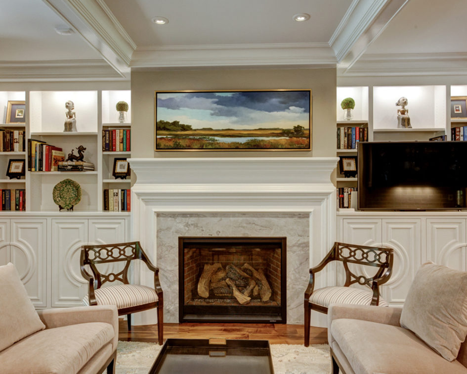 living room remodel with landscape painting