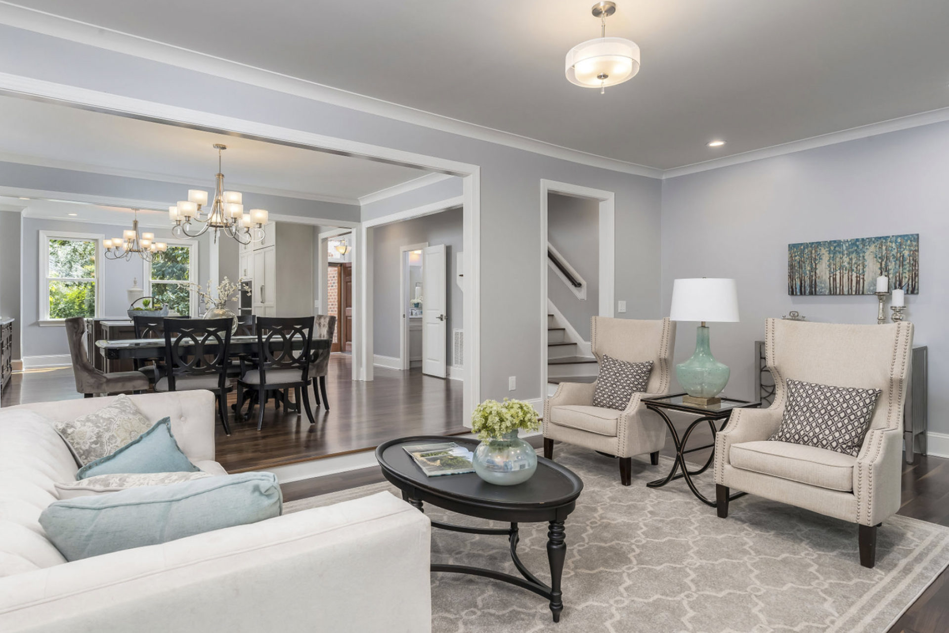 whole house remodel with grey walls and beige colors
