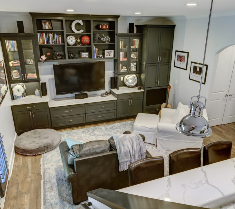 basement remodel with tv area