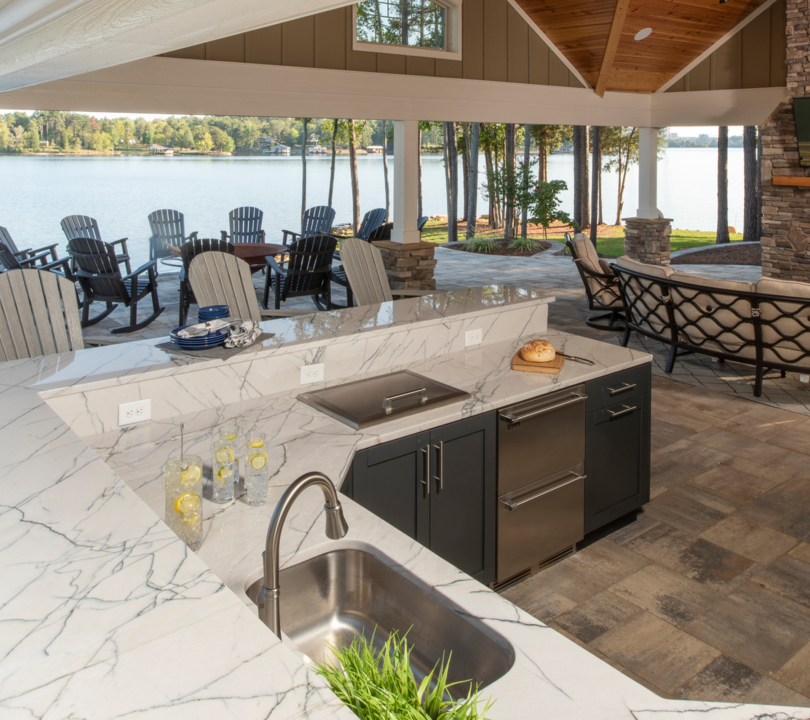 outdoor kitchen with lakeview