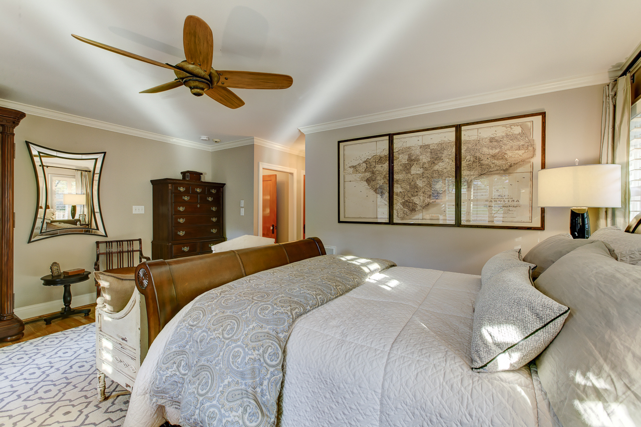 master bedroom remodel with unique wood cieling fan
