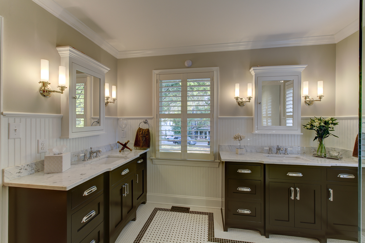 master bath remodel with white and black floor tile