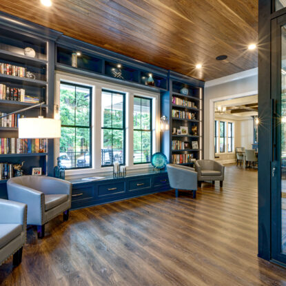 library with navy blue shelving